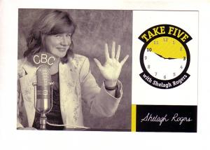 Take Five, Shelagh Rogers in Front of CBC Radio Two Microphone Canada