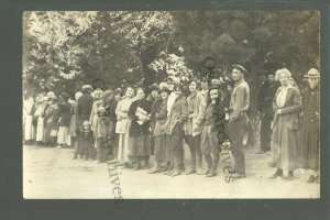 San Francisco CALIFORNIA RPPC 1906 EARTHQUAKE SURVIVORS Refugee Camp BREAD LINE
