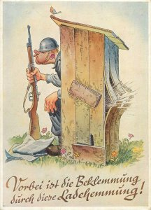 Postcard German humour comic caricature signed August Lengauer wc soldier rifle