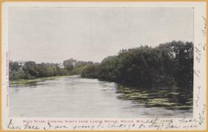 Beloit, WIS., Rock River Looking North from Lower Bridge - 1907