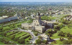 Winnipeg MB Manitoba Aerial View Legislative Building Vintage Postcard D6