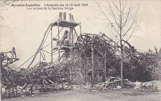Belgium Brussels Expo 1910 Les ruines de la Section Belge L'Incendie des...