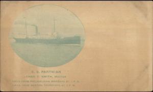 Chas Smith Master SS Parthian Steamship Philadelphia & Boston c1900 Postcard