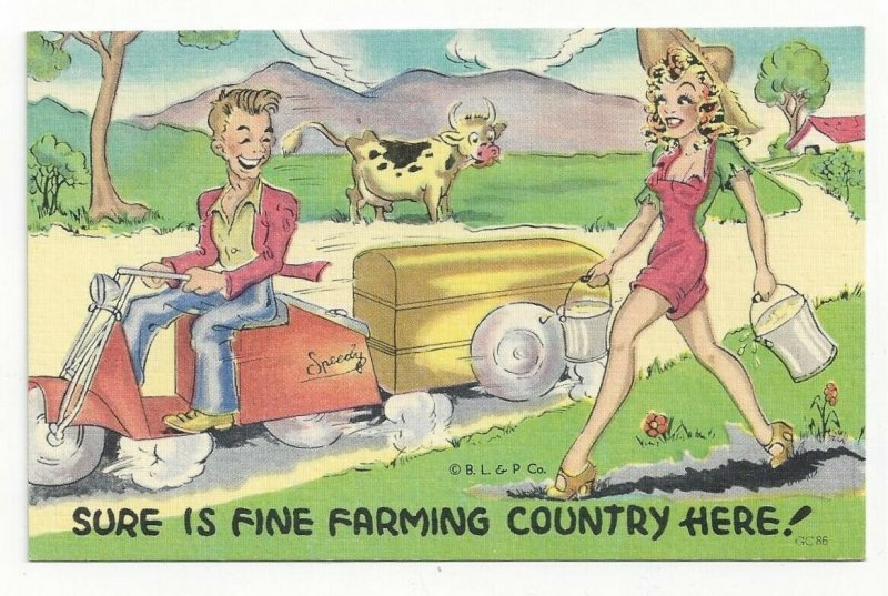 COMIC: Young man on Speedy Tricycle, Pretty Milk Maid, Cow, 1930-40s