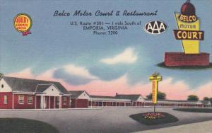 Belco Motor Court And Restaurant Emporia Virginia 1956