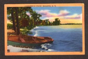 NY Greetings from MALONE NEW YORK Postcard PC