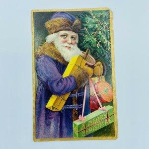 1910 Purple Robe Santa Claus Christmas Presents Tree Border Embossed Postcard