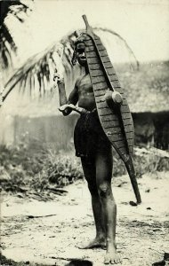 indonesia, NIAS, Native Warrior, Spear Shield Balato Sword 1920s RPPC Postcard 1