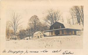 Franklin PA~Snow Covers Ground & Tree Limbs~Business w/Gambrel Roof 1908 RPPC