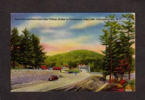 NY Long Lake Village Bridge Adirondacks Mts New York Linen Postcard