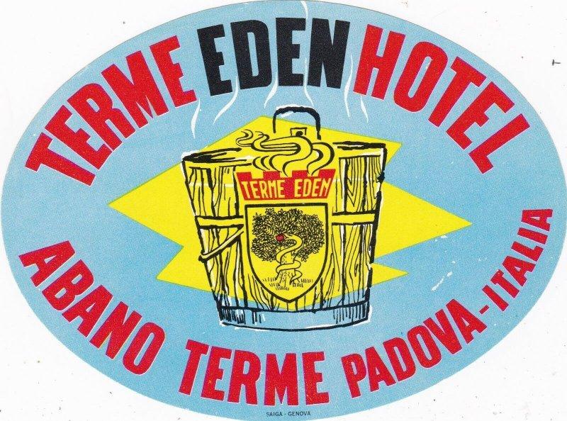 Italy Padova Terme Eden Hotel Vintage Luggage Label sk1032