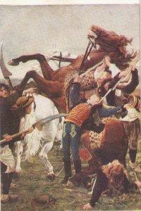 Death of Joseph Bara. Horses  Old vintage French postcard