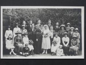 WW1 Wedding Portrait Naval SAILOR SOLDIER BRIDE GROOM & FAMILY c1918 RP Postcard