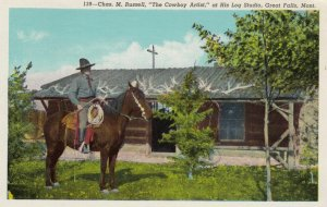 GREAT FALLS, Montana, 1948; Chas. M. Russell, The Cowboy Artist, at His Log...