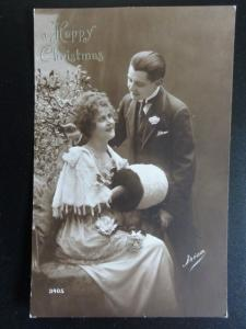 Greeting: A Happy Christmas, Romance & Muff, Old Postcard (2)