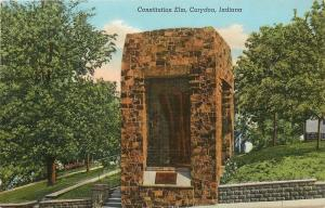Corydon IN~Constitution Elm~Monument~Constitution Of IN Framed Under Tree~1943