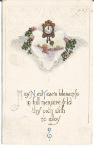 Clovers & German Cuckoo Clock Winter Farm Scene Happy New Year Vintage Postcard