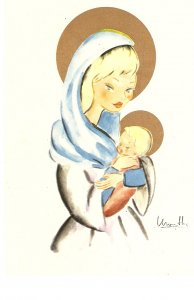 Virgin with the Child Nice Spanish religious postcard 1950s