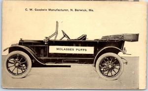 North Berwick, Maine Postcard MOLASSES PUFFS C.W. Goodwin Touring Car c1910s