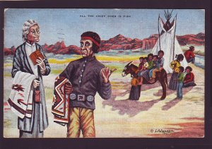P1607 1944 used art postcard indian chief & family all the chief dose is fish