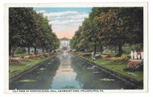 Philadelphia PA Fairmount Park Horticultural Hall Lily Pond Vintage Postcard