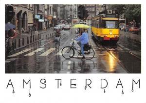 Netherlands Amsterdam Street Raining Weather, Cyclists Tram Cars