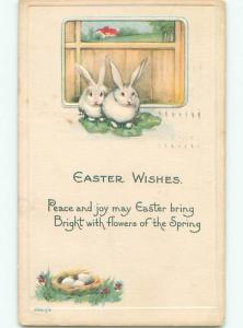 Pre-Linen easter TWO WHITE BUNNY RABBITS WITH LETTUCE k2590
