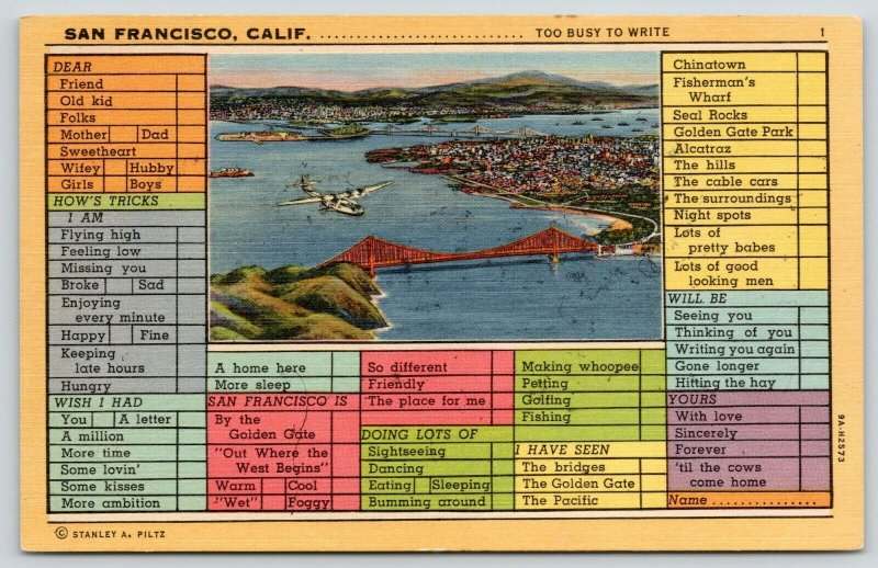 San Francisco CA~Golden Gate Bridge~Busy Persons Correspondence Postcard~1939