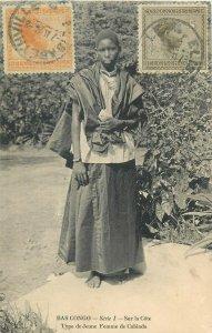 Belgian Congo ( Congo Belge ) Cabinda type young ethnic girl TCV stamps postcard