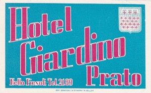Italy Prato Hotel Giardino Vintage Luggage Label sk3358