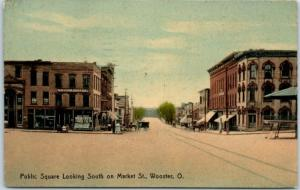Wooster, Ohio Postcard PUBLIC SQUARE, South on Market Street 1911 Cancel