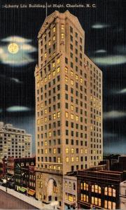 North Carolina Charlotte Liberty Life Building At Night 1948