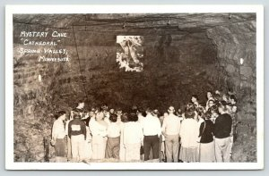 Spring Valley Minnesota~Crowd of Teensagers @ Mystery Cave Cathedral~1950s RPPC