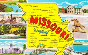 Greetings from MISSOURI, Map & 8 Views of the Show Me State