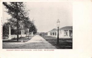 Milwaukee Wisconsin~Concert Grove & Pavilion @ Lake Park~Lampposts~1906 Postcard