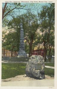 MASON CITY , Iowa, 1930-40s , Civil War Soldier's Monument