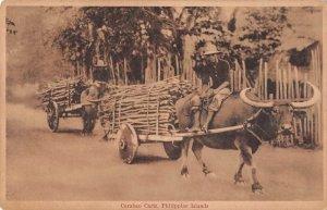 Philippine Islands Carabao Carts Water Buffalo Vintage Postcard AA19220