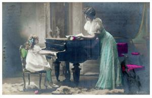 Child Playing Grand Piano , Colored RPC