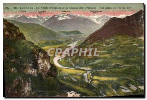 Old Postcard Lourdes la Vallee d'Argeles and the Chaine des Pyrenees view tak...