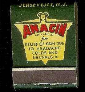 ANACIN TABLETS 1950's Full Unstruck Matchbook