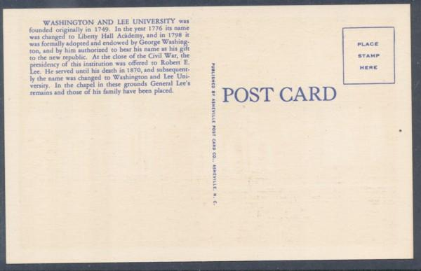 Virginia colour PC Washington & Lee University Lexington unused