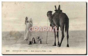 Old Postcard Scenes and Arabic Types making Prayer Camel