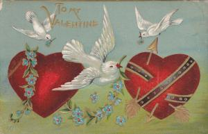 VALENTINE'S DAY; Red Hearts, Doves, Forget-Me-Nots Flowers, Gold detail, 00-10s