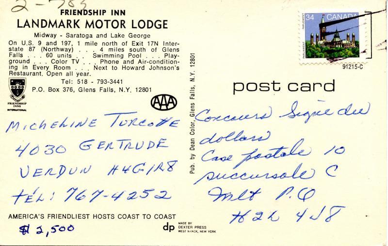 NY - Glens Falls. Landmark Motor Lodge