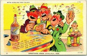 1940s RAY WALTERS Comic Postcard Greetings from OGALLALA NEBRASKA Drunks Linen