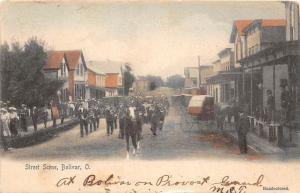 E68/ Bolivar Tuscarawas County Ohio Postcard 1906 Parade Stores Crowd