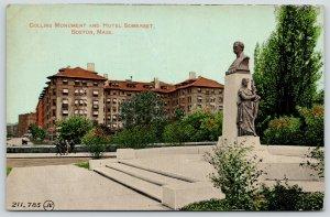 Boston MA Mayor, US Representative Collins Monument & Hotel Somerset~1912 PC