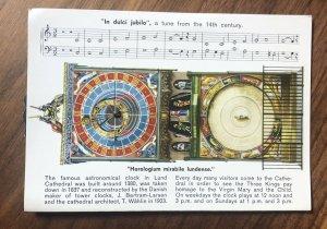 VINTAGE MECHANICAL In Dulci jubilo Lund Cathedral CLOCK POSTCARD PC