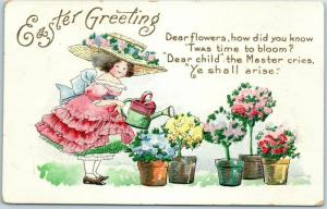 1910s EASTER Postcard Dear Flowers, How Did You Know Twas time to Bloom?