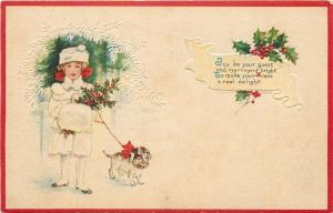 Christmas~Girl In White Fur Coat~Hat~Muff~Holly Berry~Puppy Muzzled~White Emboss